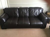 Chocolate Brown Leather 3 Seater