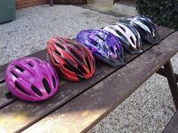 Cycle / Bike Helmets x 5 / 2 Adult / 3 Girly Child or Teenager