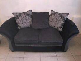3&2 seater grey and black sofas