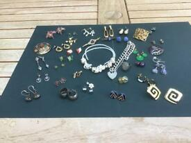 Assorted Jewellery - large collection of earrings, silver curb bracelet, broaches