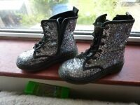Girls Glitter Silver size 10 Benetton Doctor Martin Boots with easy fit zips and laces