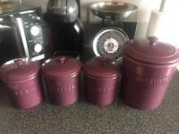 Coffee, tea, sugar and biscuit canisters