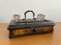 Antique English Brass Pen & Ink Stand Desk