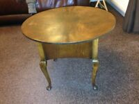 Vintage Mid Century Sewing Box Table 1950-60s Queen Anne Legs