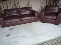 Fabulous Brown Real Leather Settee and Chair, Excellent Condition