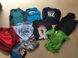 Boys clothes bundle 6-7 years 5x long sleeved t shirts, 2x Trousers, 2 x short pj