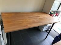 Height adjustable solid beech Ikea table