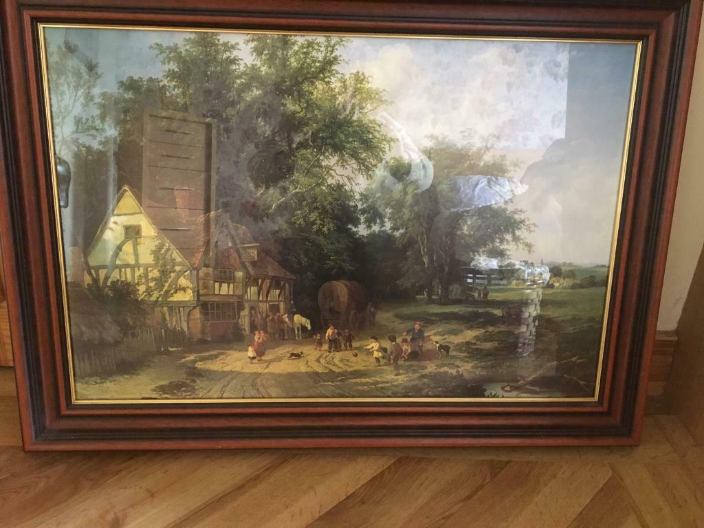 Large picture in mahogany frame for sale