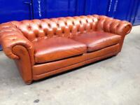 DFS distressed tan leather 3/4 seater oversized sofa Settee antique leather genuine chesterfield