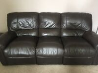 Leather, 3 seated and reclining sofa