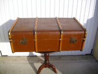 Vintage Wooden Bound Steamer Trunk Chest Coffee Table
