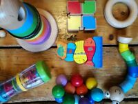 wooden children's toy selection 9 pieces