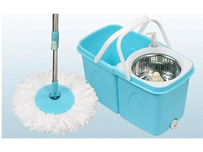 360° Floor Magic Spinning Mop Bucket Set Microfiber Rotating WITH 2 Dry Heads