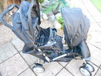 GRACO BUGGY BLACK STADIUM DUO DOUBLE TANDEM BABY PUSHCHAIR TWIN STROLLER