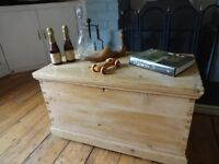 ANTIQUE PINE CHEST - OTTOMAN - TOY BOX - COFFEE TABLE -