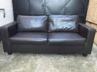 Brown leather 2 seater sofa•free delivery•