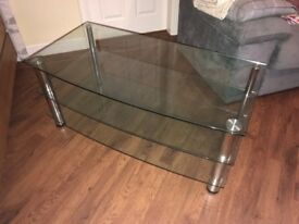 Glass TV Stand - Used but good condition - Collection Only