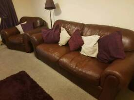 *FREE** 3 seater leather sofa and matching arm chair
