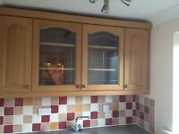 Wooden Kitchen Cabinets with 2 glass doors