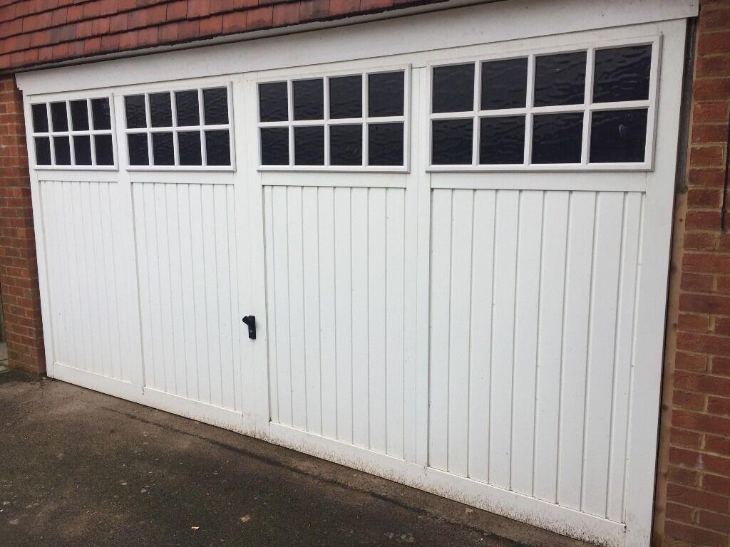 Electric Double Garage Door Complete With Motor 14 Foot Long 7