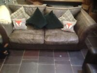 House Of Fraser Vintage Brown Leather 3 Seater Sofa - Gentlemans Club Industrial