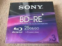 SONY BD-RE Blu-ray (25GB) rewritable disc x 3
