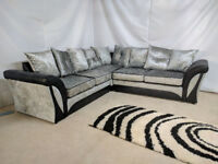 UK EXPRESS DELIVERY | SHANNON CORNER SOFA CRUSHED VELVET BLACK/SILVER | 1 YEAR WARRANTY