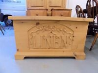 Beautiful Solid Pine Linen Box Ottoman Laundry Chest
