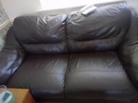 Brown leather 2 and 3 seater