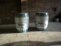 MATCHING PAIR OF ORIENTAL CERAMIC LATICED DETAIL STOOLS. BOTH IN EXCELLENT CONDITION.