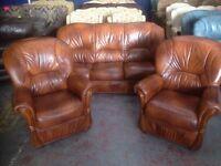 Tan Italian leather sofa and chairs