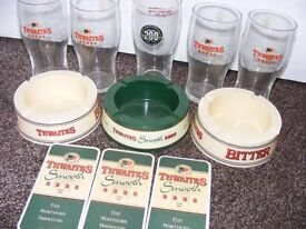 Thwaite's New Collectables. 3 Ashtrays, 3 Drip Mats & 5 Pint Glasses.