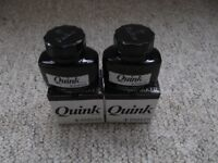 Two new boxed 57ml bottles of Parker Quink black ink.