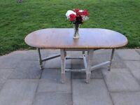Large gate leg folding dining table. Rustic shabby chic.