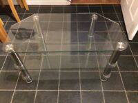 Glass and chrome TV corner stand. Suitable for TV up to around 42 inch