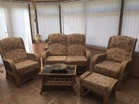 RATAN CANE CONSERVATORY SUITE 2 SEAT SOFA, 2 ARM CHAIRS, COFFEE TABLE, STOOL