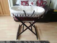 mahogany wicker moses basket with dulex folding rocker never been used
