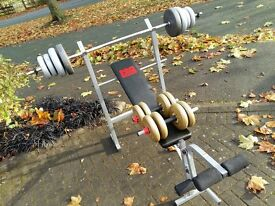PRO POWER WEIGHTS BENCH WITH 50KG WEIGHTS & BARS