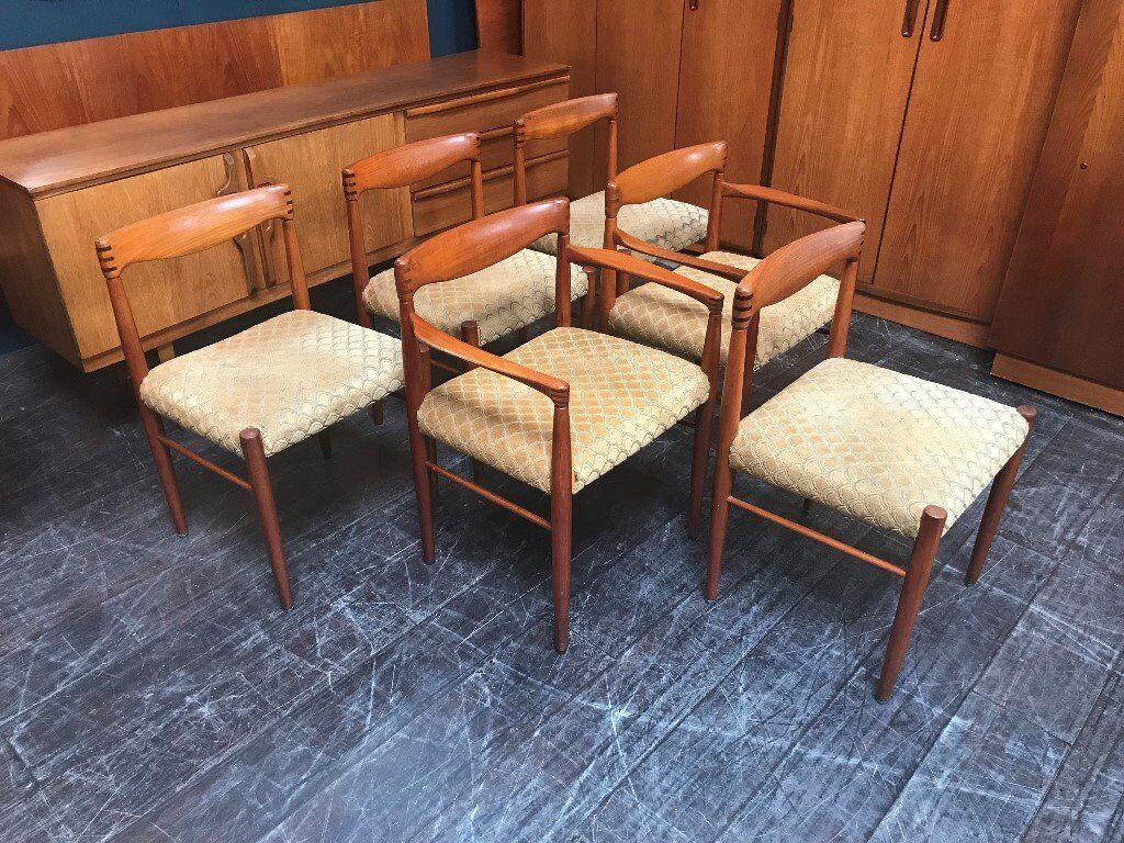 8b8a60a0d1d6 6 Danish Dining Chairs by H.W. Klein for Bramin. Retro Vintage Mid Century