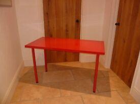Gloss red IKEA LINNMONN/ADILS table/desk