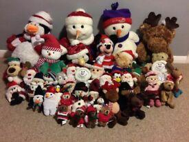 A big selection of Christmas teddies