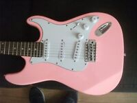 full size Pink electric guitar and amp used once bargain