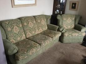 Retro three piece suite in green reupholstered!