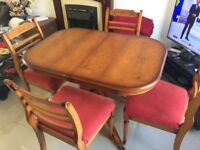 Extending dining table & chairs - ideal if space is limited