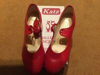 Ladies size 7 red low heel tap shoes, not worn.