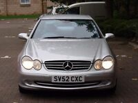 AA WARRANTY!! 52 REG MERCEDES-BENZ CLK 2.6 CLK240 AVANTGARDE 2dr, 1 YEAR MOT, FULL LEATHER