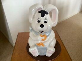 White china rabbit biscuits/cookie jar