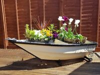 Garden Boat Planter - Cream and Black - Wooden Approx. 5' long