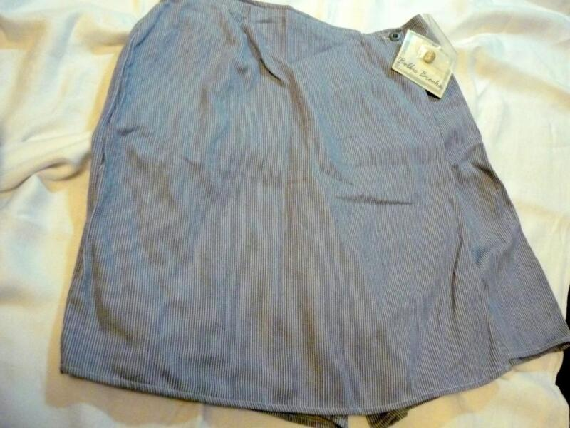 VTG NWT BOBBIE BROOKS WHITE BLUE PINSTRIPED SKORT SIZE M 8/10