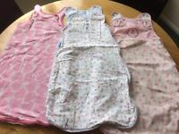 0-6 month summer sleeping bags - 1x grobag, 1x slumbersac, 1x Mothercare